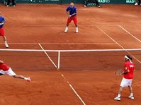 Lukáš Dlouhý and Jan Hájek v. Jorge Aguilar and Nicolas Massu of Chile, photo: EPA/Claudio Reyes, Isifa