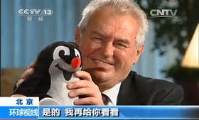 Miloš Zeman hovořil mj. opřipravovaném animovaném seriálu Krteček apanda, foto: Archiv CNTV