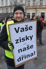 Luboš Petříček bei einem Anti-Regierungsprotest in Prag (Foto: Archiv der KSČM)