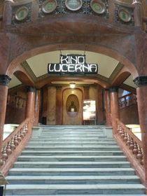 Entrance to Lucerna cinema, complete with bust of Václav Havel's grandfather, photo: Ian Willoughby