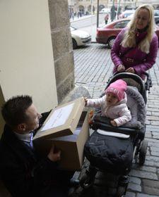Родители передают депутатам петицию за сохранение специальности участкового педиатра, Фото: ЧТК