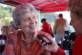 Nataša Cimbálová při rozhovoru sMilenou Štráfeldovou, foto: Barbora Kmentová