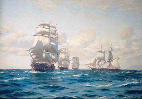 Thomas Somerscales: Primera Escuadra Nacional - Armada de Chile, fuente: Wikimedia Commons, Public Domain