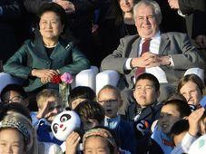 La deuxième vice-première ministre chinoise Liu Yandong et Miloš Zeman ont assisté ce mercredi au Château de Prague à l'épisode pilote de la nouvelle série animée de Krtek et Panda, photo: ČTK
