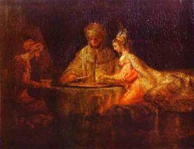 Achašveroš, Haman aEster na obrazu od Rembrandta