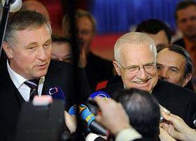 Mirek Topolánek and Václav Klaus, photo: CTK