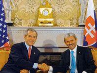 US President George Bush with the Slovak Prime Minister Mikulas Dzurinda, photo: CTK