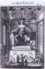 Vitzliputzli, Idolum Mexicanorum, ilustración en un libro de la época, fuente:  Biblioteca Científica de Olomouc