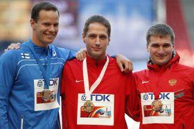 Tero Pitkämäki, Vítězslav Veselý, Dmitri Tarabin, photo: CTK