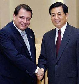 Premiér Jiří Paroubek (vlevo) ačínský prezident Chu Ťin-tchao, foto: ČTK