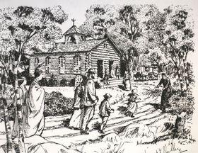 Zeichnung von einer Blockhauskirche