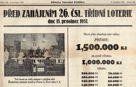 Zpráva o třídní loterii v dobovém tisku