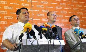 Tisková konference vedení ČSSD, foto: ČTK