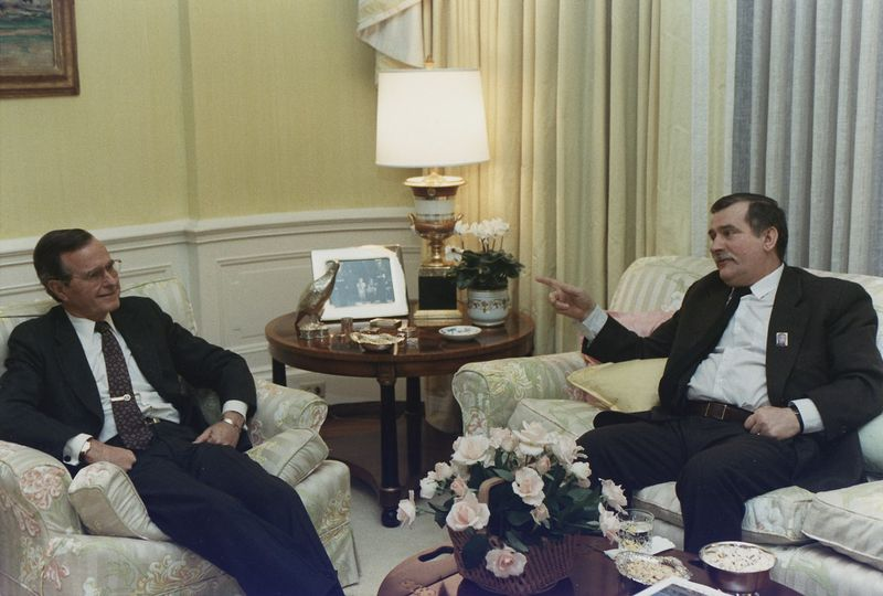 George Bush and Lech Walesa, photo: David Valdez, public domain