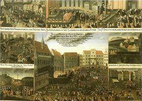 El lienzo muestra la ejecución de los protestantes rebelde