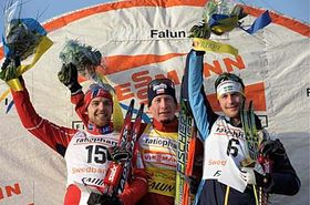 Lukáš Bauer (centre), second placed Norway's Tord Asle Gjerdalen (left), and third placed Sweden's Anders Sodergren (right), photo: CTK