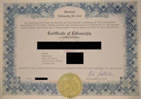 Liberland Citizenship Certificate, photo: Terrorist96, CC BY-SA 4.0