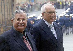 Irácký prezident Talabání při setkání sVáclavem Klausem, foto: ČTK