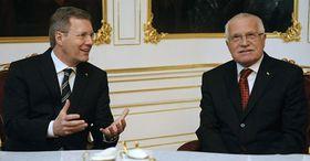 Christian Wulff et Václav Klaus, photo: CTK