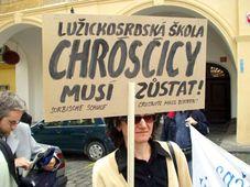 Demonstrace proti zrušení lužickosrbské školy v Chrósčicích v Sasku, foto: autor