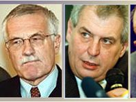 Václav Klaus, Milos Zeman y Otakar Motejl