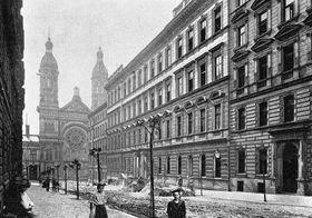 Vinohradská synagoga, pohled zulice Moravská, foto: volný zdroj