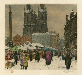 František Šimon Tavík: Trh na Staroměstském náměstí, foto: archiv Muzea hl. m. Prahy