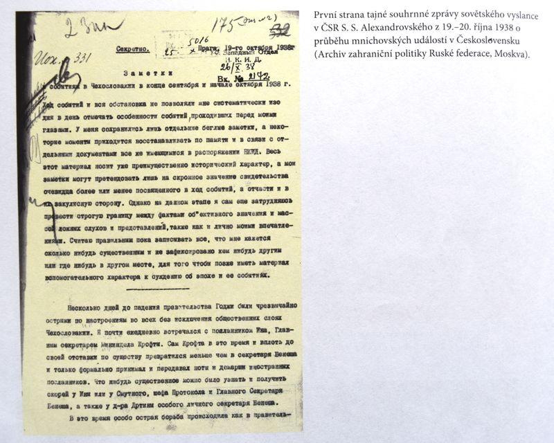 Рапорт советского посла Сергея Александровского от 19 - 20 октября 1938 года, фото: Барбора Немцова
