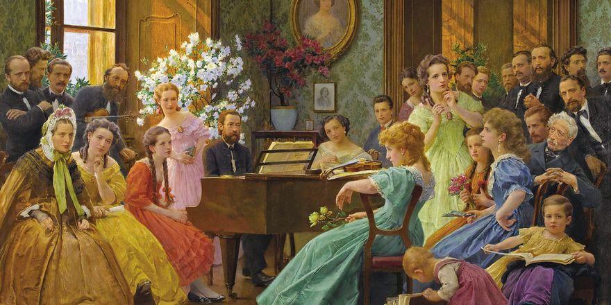 Bedřich Smetana con sus amigos (pintura de František Dvořák, 1865)