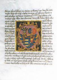 Císař Matyáš svoluje ke spojení znaku slavatovského serbem pánů zHradce, 1616