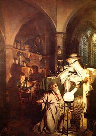 Pintura de Joseph Wright Ofderby (1771) 'Intento de la generación de la Piedra Filosofical'