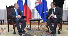 Bohuslav Sobotka y Alexandar Vučić, foto: archivo del Gobierno Checo