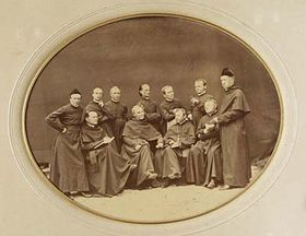 Monks of the Augustinian monastery, Mendel is standing, second from right, photo: offical website of the Mendel Museum