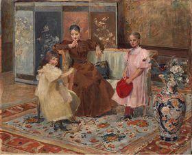 Vojtěch Hynais, 'Madame Hrušová et ses enfants', photo: Galerie nationale Prague