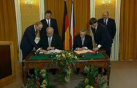 Deutsch-Tschechische Erklärung von 1997 (Foto: Tschechisches Fernsehen)