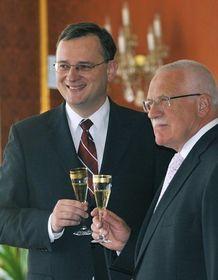 Petr Nečas, Václav Klaus, photo: CTK