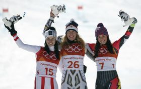 Anna Veith, Ester Ledecká, Tina Weirather, photo: ČTK