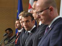 Vrnl: Bohuslav Sobotka, Christian Kern, Emmanuel Macron und Robert Fico (Foto: ČTK)
