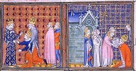 Wenceslaus IV, roi de la Bohême, faisant l'hommage au Roi Charles V de la France comme empereur Charles IV regarde, (Paris, Bibliothèque nationale)