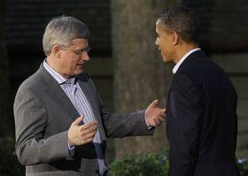 Stephen Harper con Barack Obama en la cumbre de la OTAN, foto: ČTK