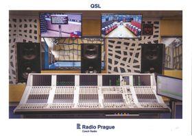 Tarjeta QSL 2018, Mesa de mezclas de audio Studer del estudio S1, foto: Khalil Baalbaki