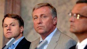 Martin Bursík, Mirek Topolánek aMiroslav Kalousek, foto: ČTK