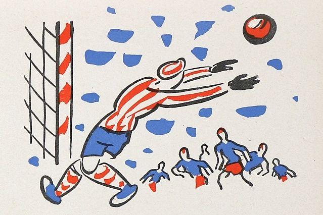 """Illustration aus dem Buch """"Klapzubova jedenáctka / Klapperzahns Wunderelf"""" von Eduard Bass / Verlag SNDK, CC0"""