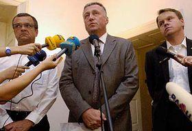 Miroslav Kalousek (vlevo), Mirek Topolánek aMartin Bursík, foto: ČTK
