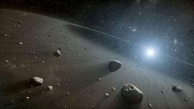 A swarm of asteroids, visualisation: NASA/JPL-Caltech