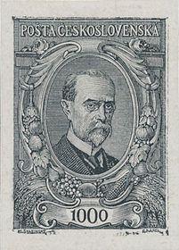 El sello postal con la imagen de Tomáš Garrigue Masaryk de Max Švabinský