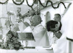 Кардинал Агостино Казароли во время богослужения на Велеграде (Фото: maticevelehradska.cz)