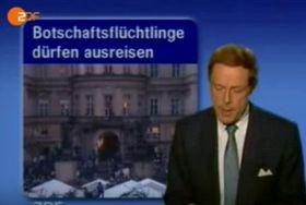 ZDF berichtete in seiner Nachrichten über flüchtende DDR-Bürger in Prag (Foto: Archiv ZDF)