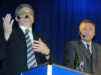Président d'ODS Mirek Topolanek (à gauche) et ministre des Finances pressenti Vlastimil Tlusty, photo: CTK