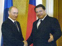 Йиржи Пароубек и Владимир Путин в Праге (Фото: ЧТК)